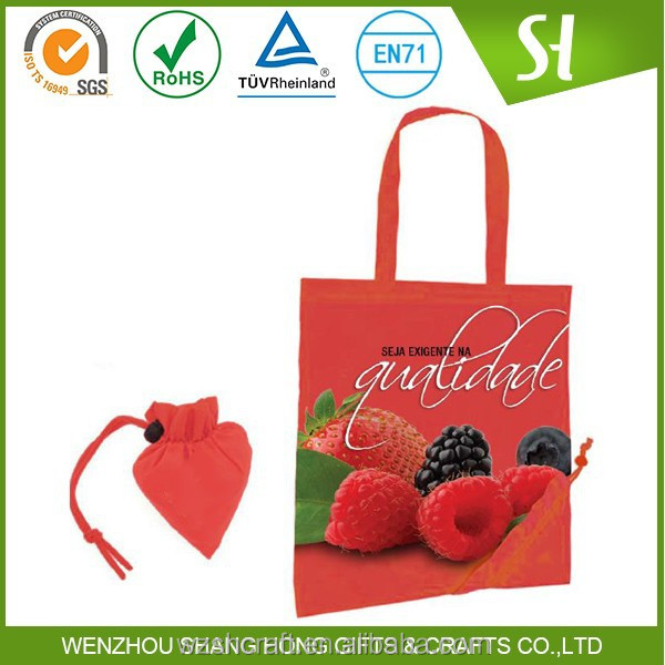 Logo Printed Nonwoven shopping bag/Strawberry Folding Shopping Bag