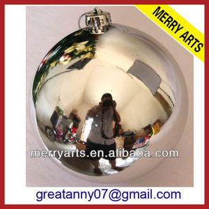 futian market yiwu factory hot sale shiny silver large glass christmas ornaments decorations made in china