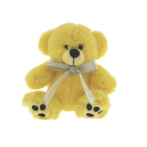 Custom Yellow Color Plush Teddy Bear with Bowknot