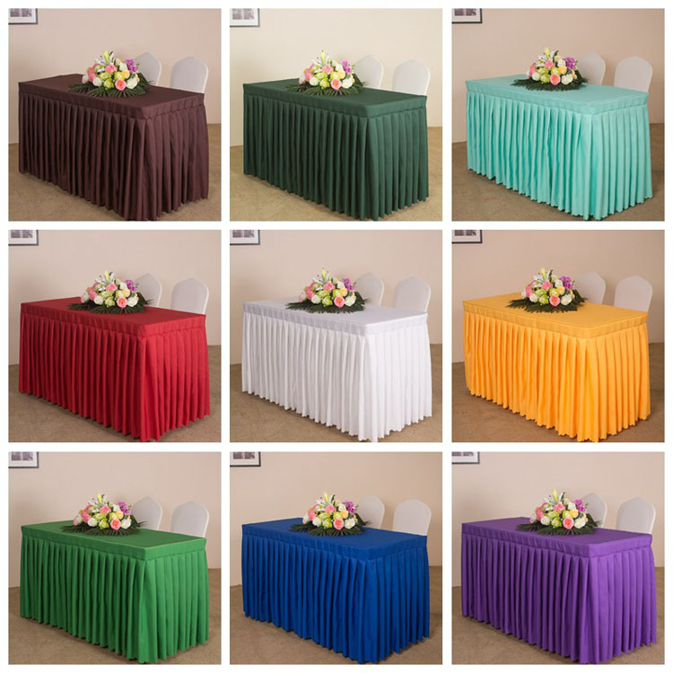 Hotel Meeting Banquet Solid Color Oil Proof Waterproof Plain Weave Table Skirt