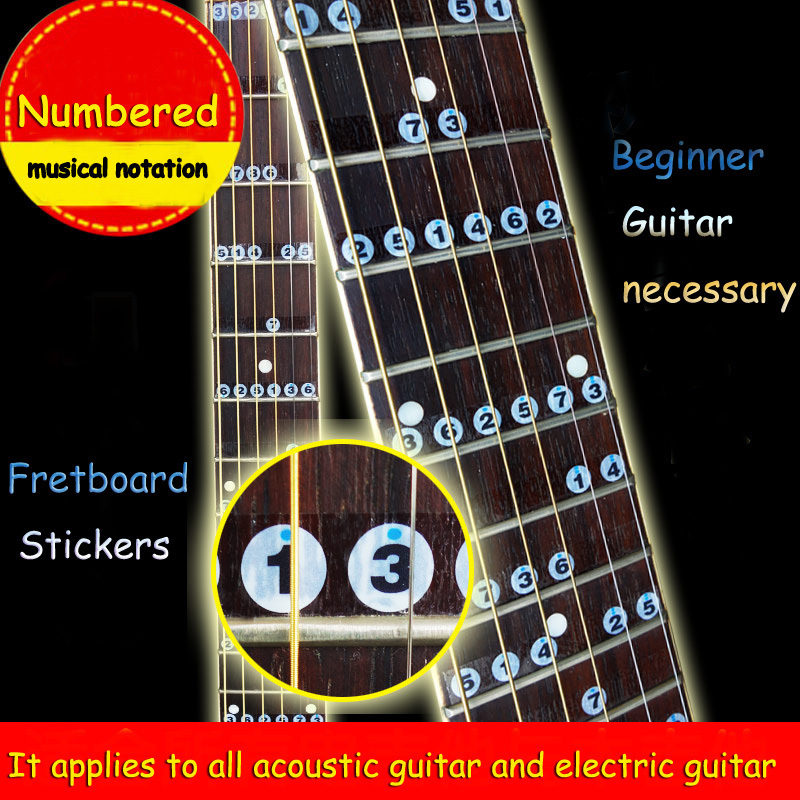 free shipping numbered musical notation acoustic electric guitar fretboard note music stikers. Black Bedroom Furniture Sets. Home Design Ideas