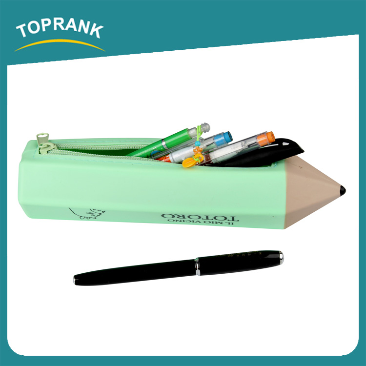 Toprank Gift Use Fashion Custom Printed Waterproof Cartoon Pencil Shape School Silicone Pencil Case With Zipper