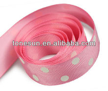 Hot Pink Printing Polka Dot Satin Ribbon for lovely Girl Dressing Up