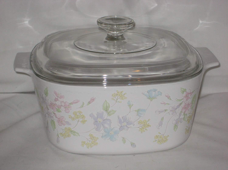 """1980's Corning Ware """" Pastel Bouquet Pattern"""" 3 Liter Casserole W/ Lid"""