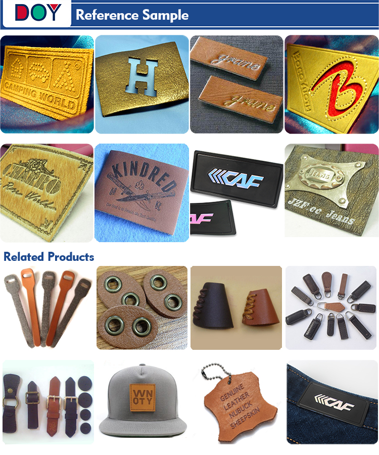 New Design Custom Embossed Brand Name Logo Soft Suede Leather Garment Patches Labels with Iron on