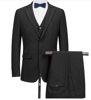 Single Breasted Suit Men black With black Buttons 2 Pieces Wedding Suits For Men Customized Slim Fit Mens Business Suits