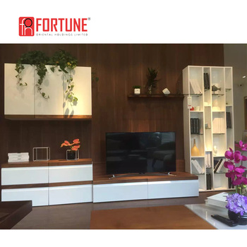 L Shaped Modern Led Lcd Tv Hall Cabinet, Wooden Tv Media Wall Cabinet With  Showcase