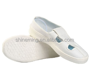 wholesale high quality cleanroom 4 holes esd PVC antistatic white shoes