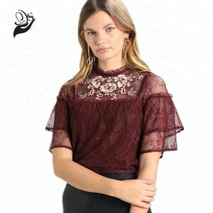 very sheer mesh summer wear embroidery women tops and blouses