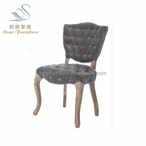 European Style Button Tufted Fabric Upholstered French Cafe Chairs