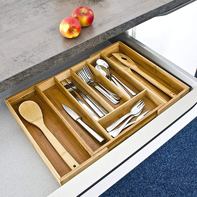 Kitchen Utensil Adjustable Bamboo Drawer Organizer 7
