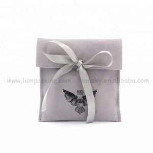 Custom mini Drawstring bags envelope suede flap jewelry pouch with Butterfly logo