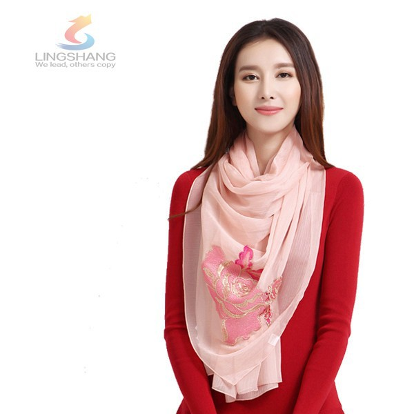 LINGSHANG <strong>fashionable</strong> with soft wrinkle long plain polyester scarf