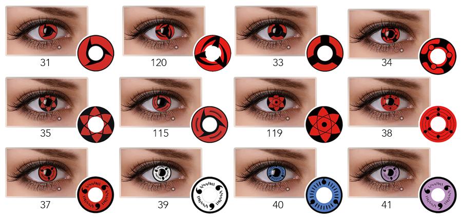 Hotselling Halloween Color Contact Lens Uchiha Itachi Izuna Sasuke Kakashi Sharingan Contact Lens Cosplay Color Contacts Buy Halloween Color Contact