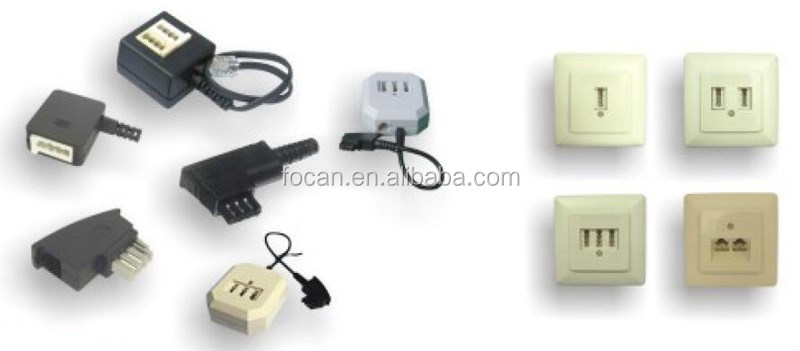 RJ11 4 Wire to BT Telephone Female Socket US To UK Adapter 6P4C 10cm