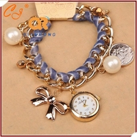 South Korea Fashion Ladies Watch Pearl CZ Circular Dial bowknot Pendant Element Bracelet Watch