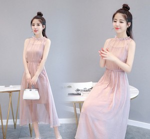 zm60266a pink sleeveless chiffon dress medium style 2018 summer new style women clothes korean style fashion long dress