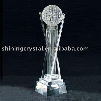 Unique Design Glass Golf Trophy