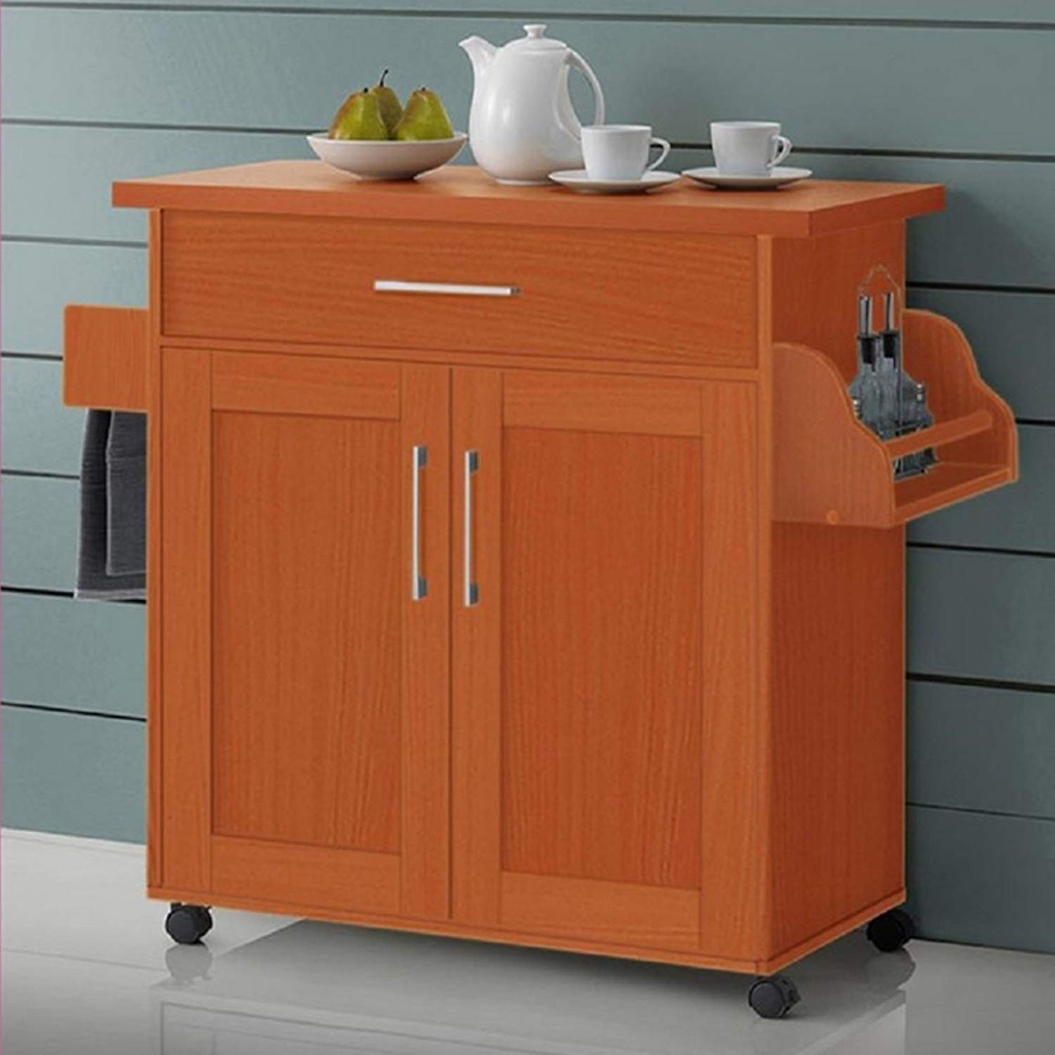 Kitchen Island with Towel Rack, Convenient and Accessible Way to Display your Microwave, Toaster and Other Small Appliances, Drawer to Store Kitchen Utensils, Store Small Appliance, Pots and Pans