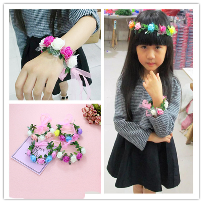 Hot sales Wrist flowers Cheap Polyester Custom  Fabric Bracelets/Elastic Wrist Band