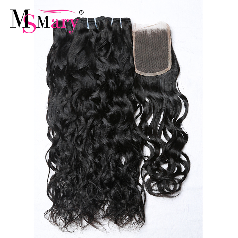 Wholesale Alibaba Natural Water Wave Bundles With Closure Natural Hair Extensions Brazilian Remy Human Hair <strong>Weave</strong>