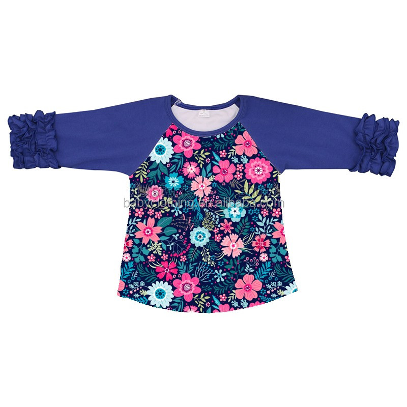 Howell wholesale Spring girl t shirt 3/4 sleeves royal blue chick ruffle raglan