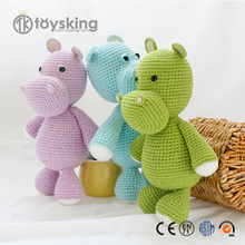 Factory customized lovely Hippo shaped stuffed animal Crochet toys for children room bedding Amigurumis