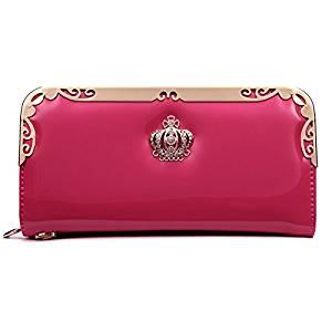 Women Long Wallet - SODIAL(R)2016 Fashion PU Women Wallet Multifunctional Zipper Long Wallet Vintage Ladies Clutch Thin Cheap Coin Purse Card Holder£¨Rose£