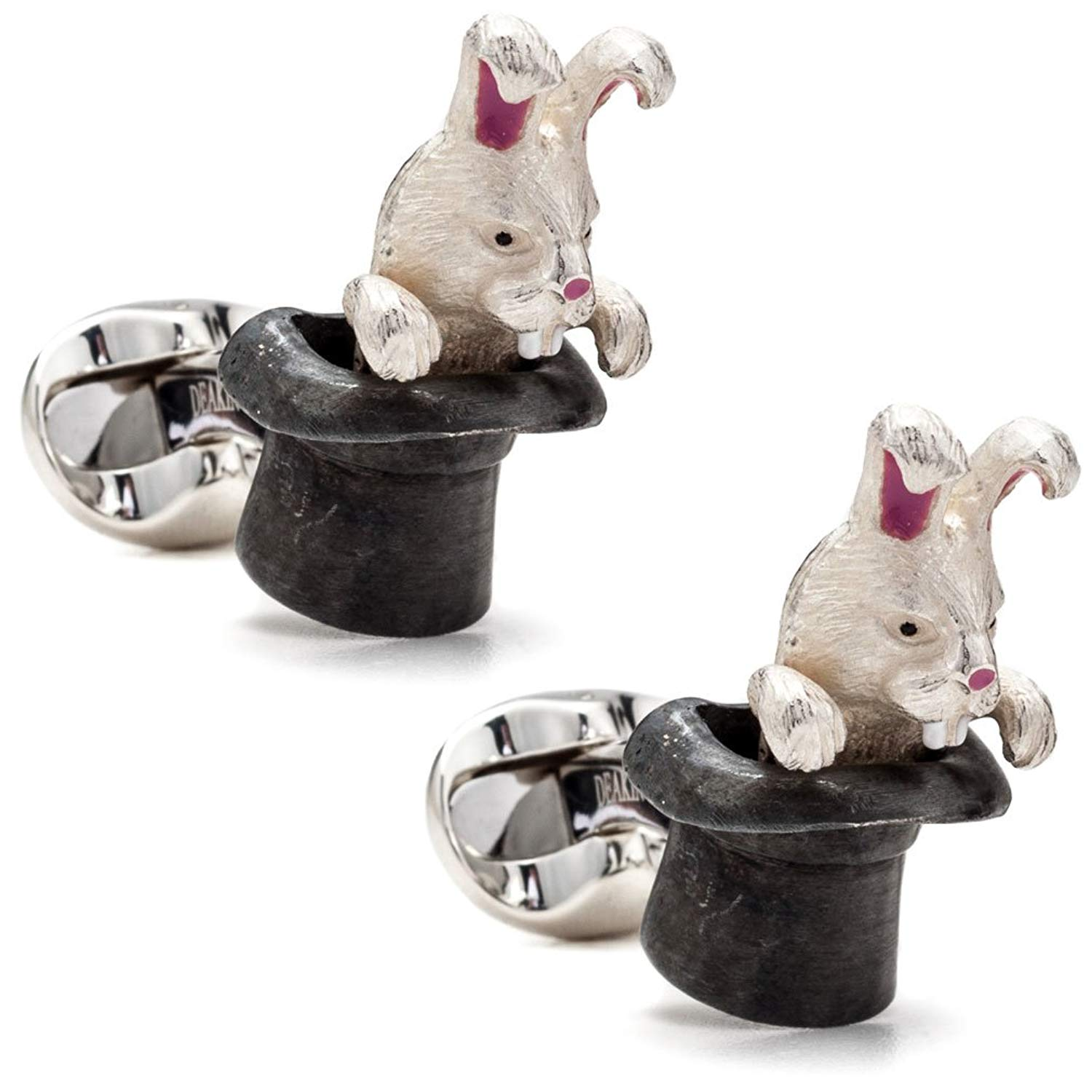 Deakin and Francis Men's Rabbit in Hat Cufflinks - White