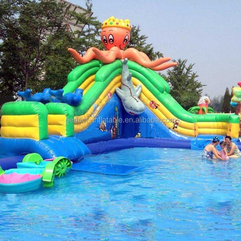 Giant animal octopus inflatable water slide , inflatable water slide with pool