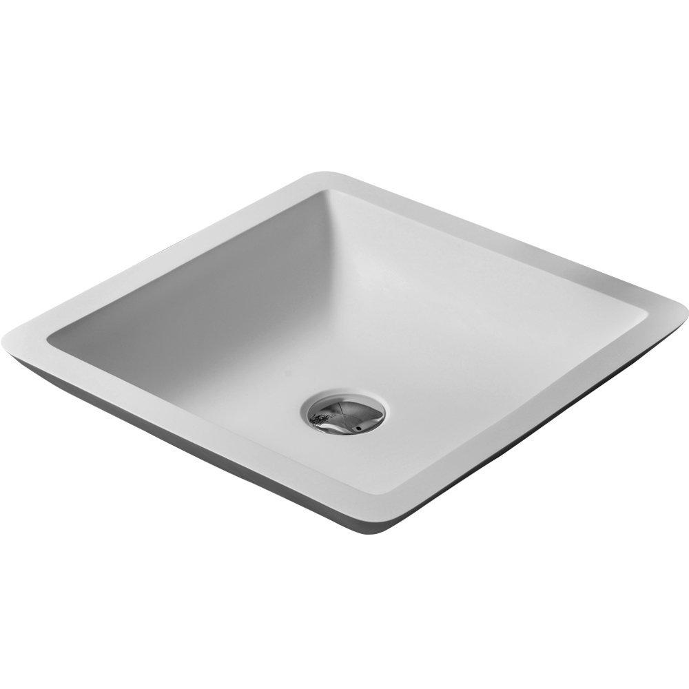XORE(GABO) Bathroom Square Artificial Stone Vessel Sink White Countertop Basin 10102A (Glossy White)