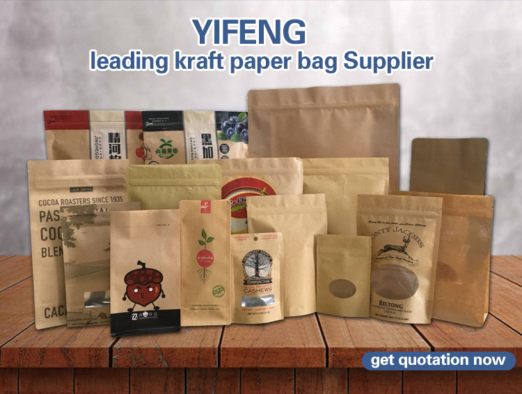 Small Windows Tea Pouch Foil For Wheat Flour Packaging Kraft Paper Bag With Flat Handle