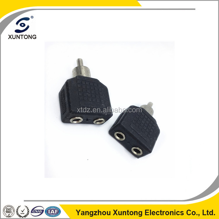 High quality male to female 3.5mm to 2 rca audio multiple connector