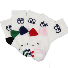 High quality colorful striped white custom cotton football kids socks