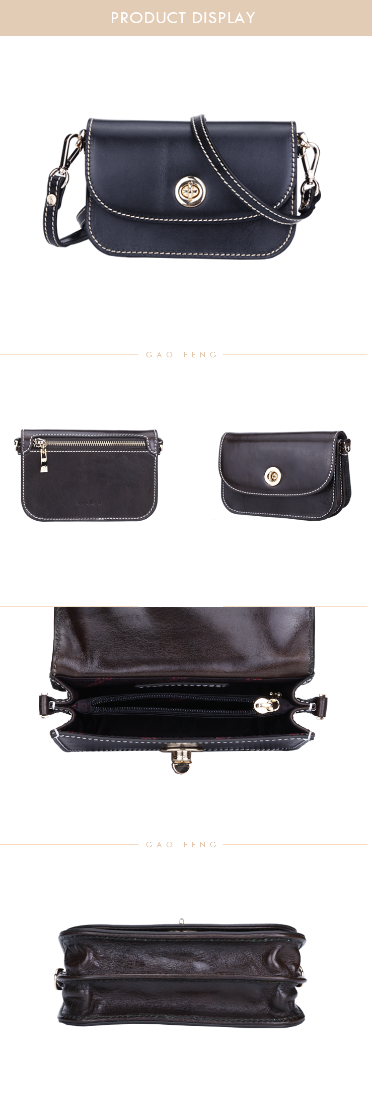High quality leather handbags women removable flap designer hand bag for women