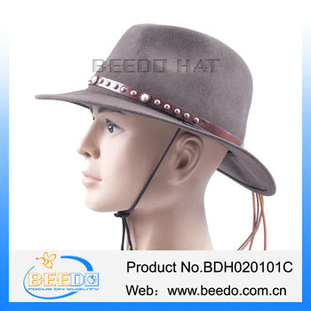 High quality 100% wool felt flat brim stetson cowboy hat with leather band  and cotton 37f36ea6b22