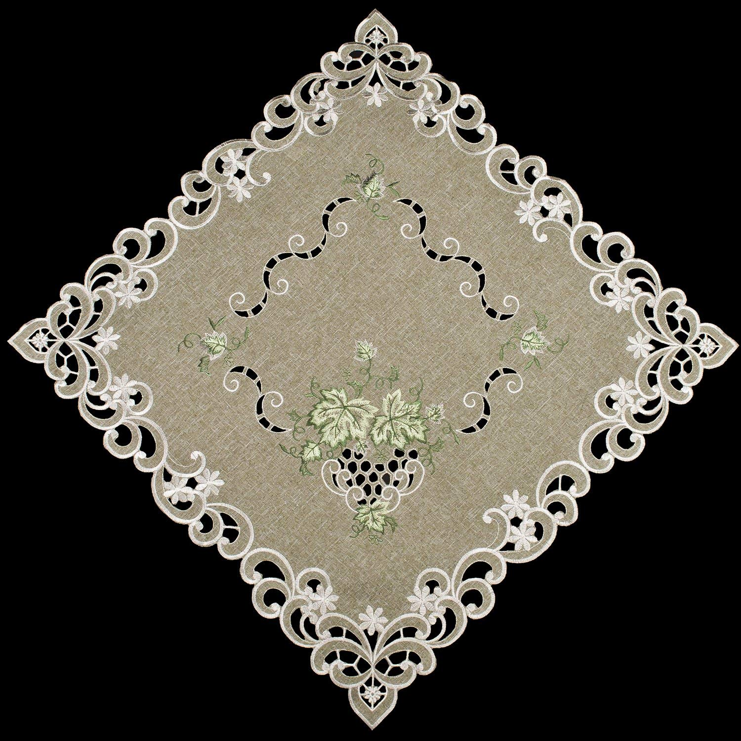 """Linens, Art and Things Embroidered Green Leaf on Antique Green Fabric Doily, Table Centerpiece, Table Topper, Dresser Scarf 23"""" Square"""