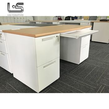 Good Environmental Powder Coating Double Sided Office Desk With Drawers