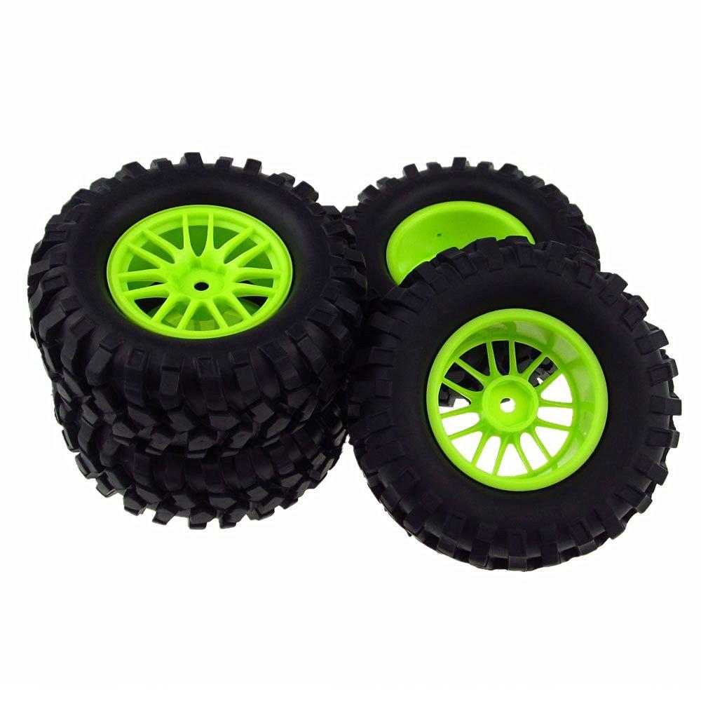 4x RC 1:10 Tires Gravel Rubber Double 7 Spoke Wheel Rim Green for Rock Crawler Cars