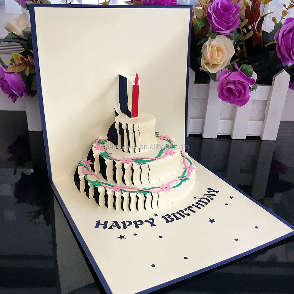 2013 New Design Laser Cutting 3d Pop Up Birthday Cake Greeting Card