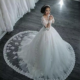 2018 Spring New Foreign Trade Wedding Dress Long Sleeved Tail Lace Wedding Dress High-end Custom Detachable Tail Wedding Gown