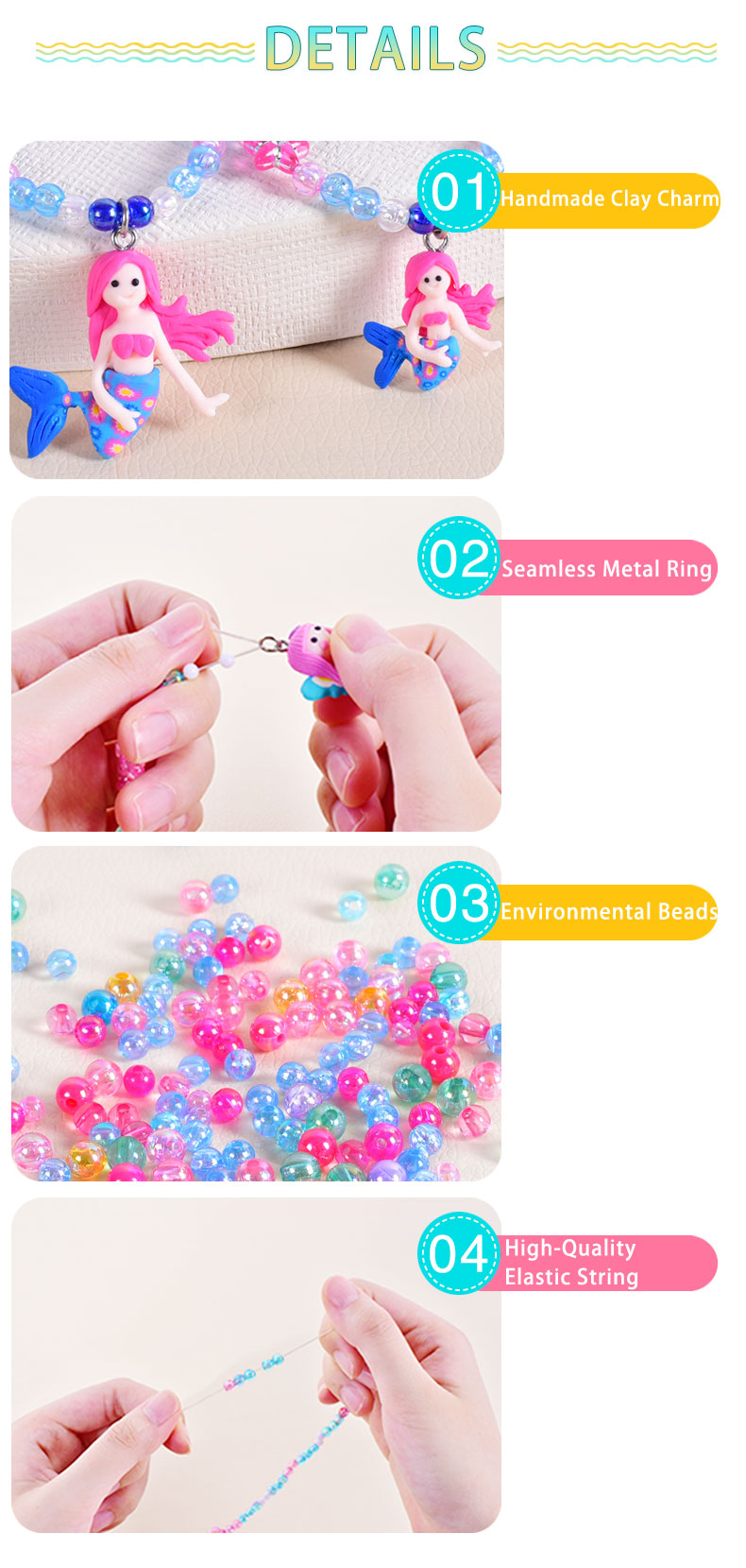 2017 Wholesale Fashion Kids Bead Bracelet Plastic String Polymer ...