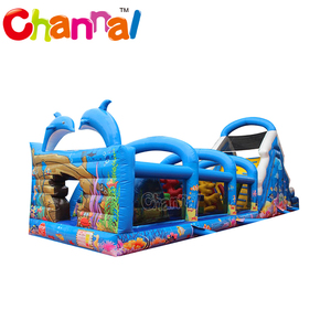 Ocean castle obsatcle inflatable for adults sea life inflatable obstacle course
