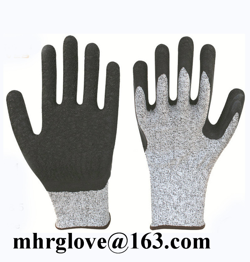 Brand MHR [Gold Supplier] HOT !10 Gauge Yellow Polycotton Liner Coated Orange Latex Palm Glove,Latex Coated Glove