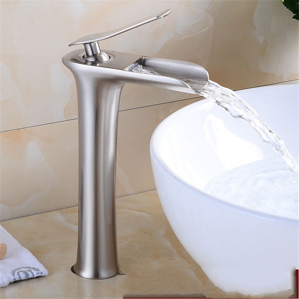 FHLYCF Basin faucet, white black paint, basin bowl basin, waterfall faucet, all copper hot and cold water tank faucet,J