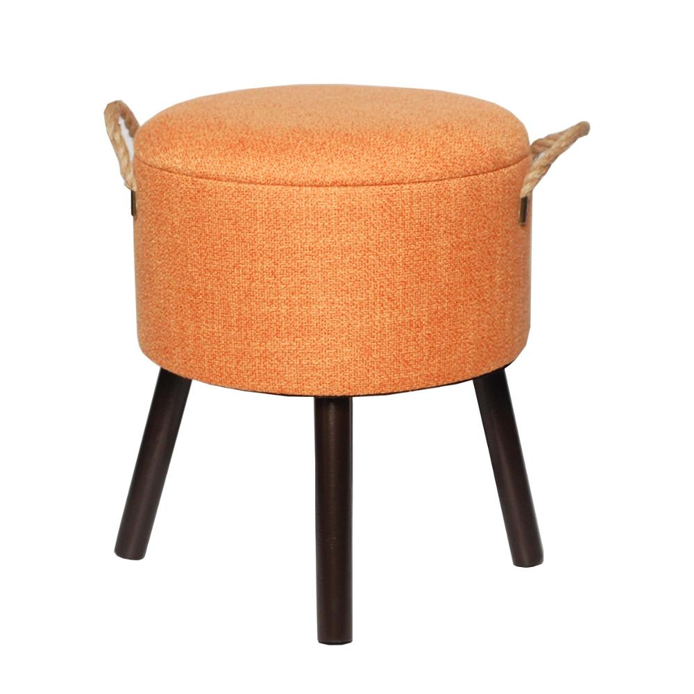 Living room round tufted upholstered ottoman with handle home furniture ottoman folding stool