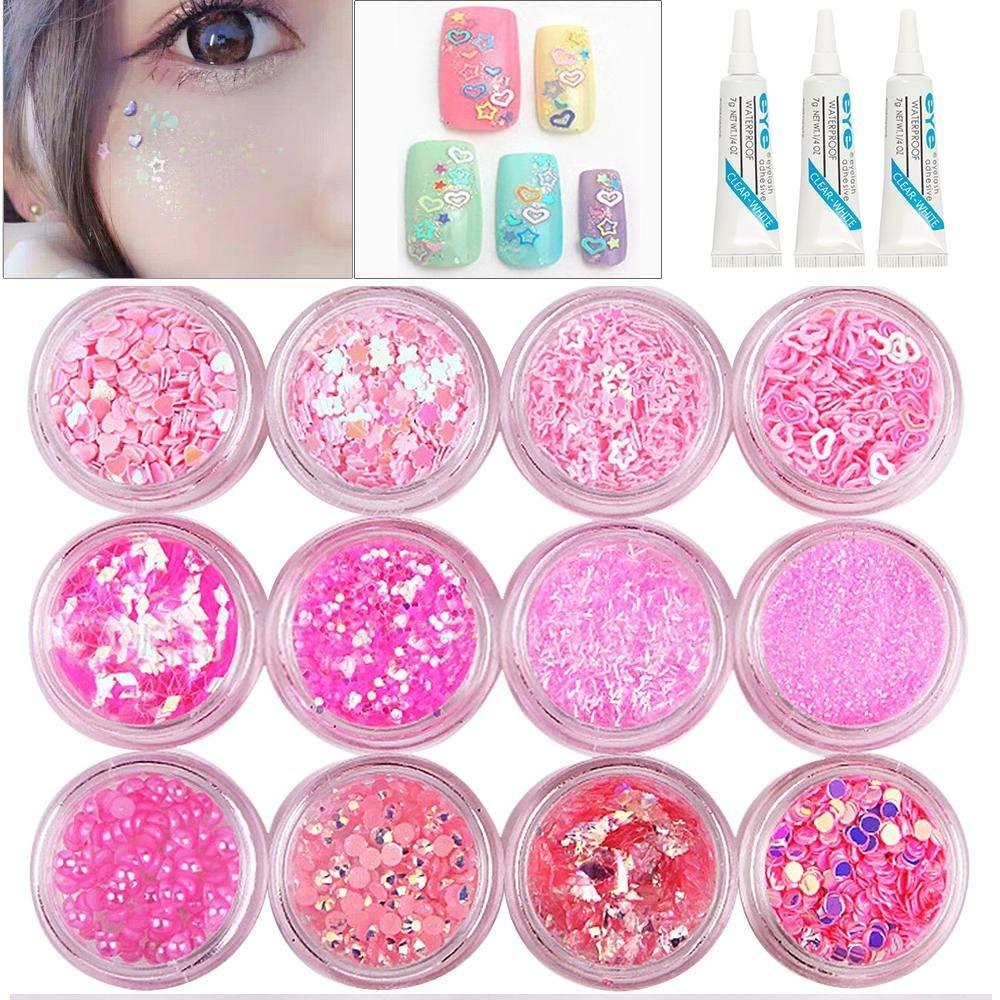 12 Pots Sweet Pink Glitter Dust Powder Paillette Sequins + 3 Pcs Glue,Glitter Powder Sequins for Slime Glitter Powder Sequins for Face Nail Hair Eyes or Lips
