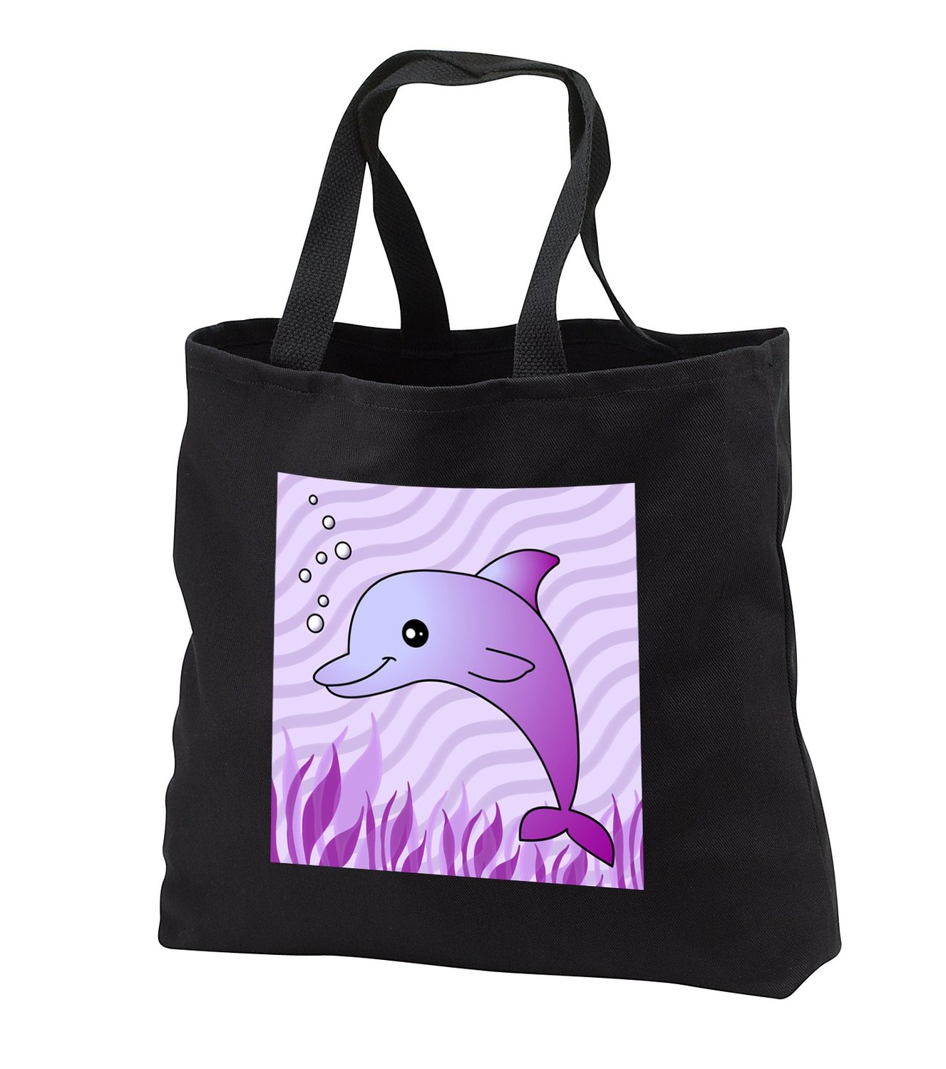 Janna Salak Designs Under the Sea - Cute Purple Dolphin Purple Ocean - Tote Bags