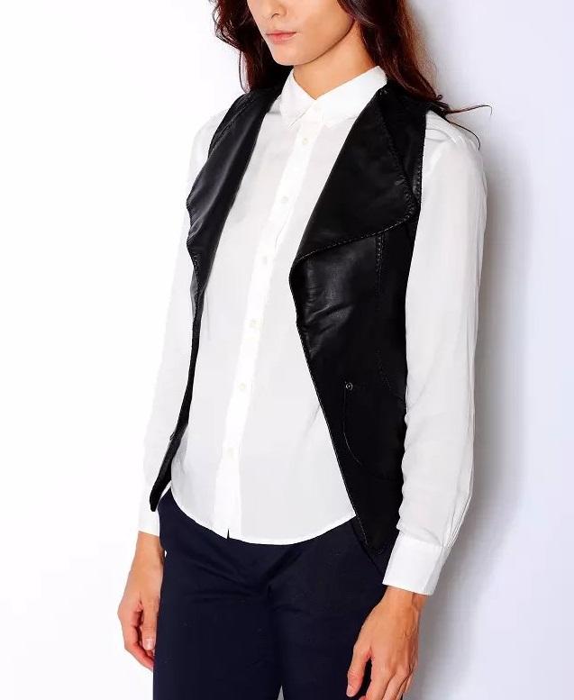 Wp4 женщины осень элегантный искусственная кожа черный без рукавов жилеты куртка свободного покроя марка