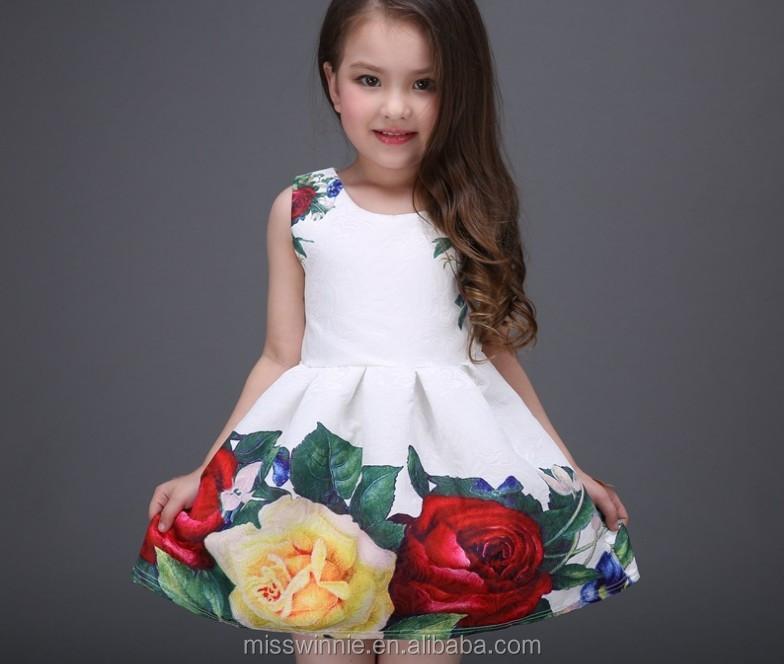 6cdf1946dc3d Latest Frock Designs Red Rose Kids Beautiful Model Dresses A-line ...